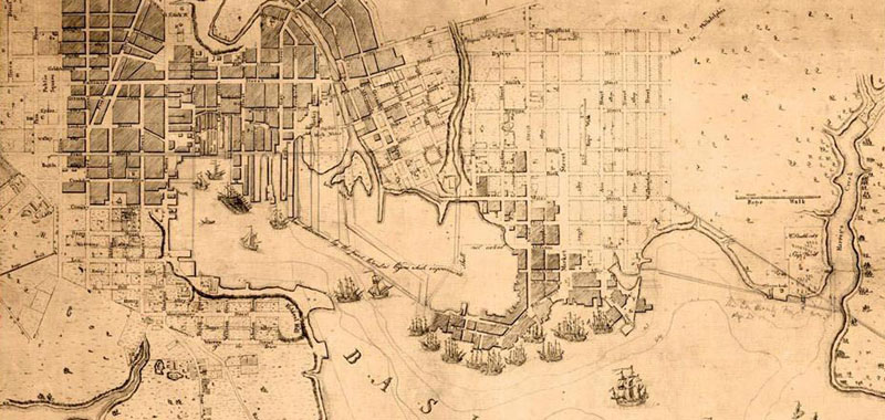 Map of 1700s Baltimore harbor
