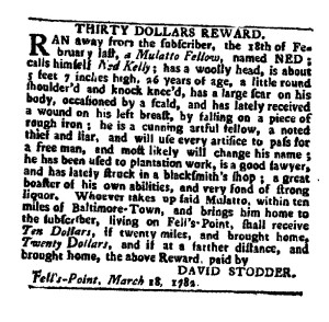 Stodder's ad for a runaway slave